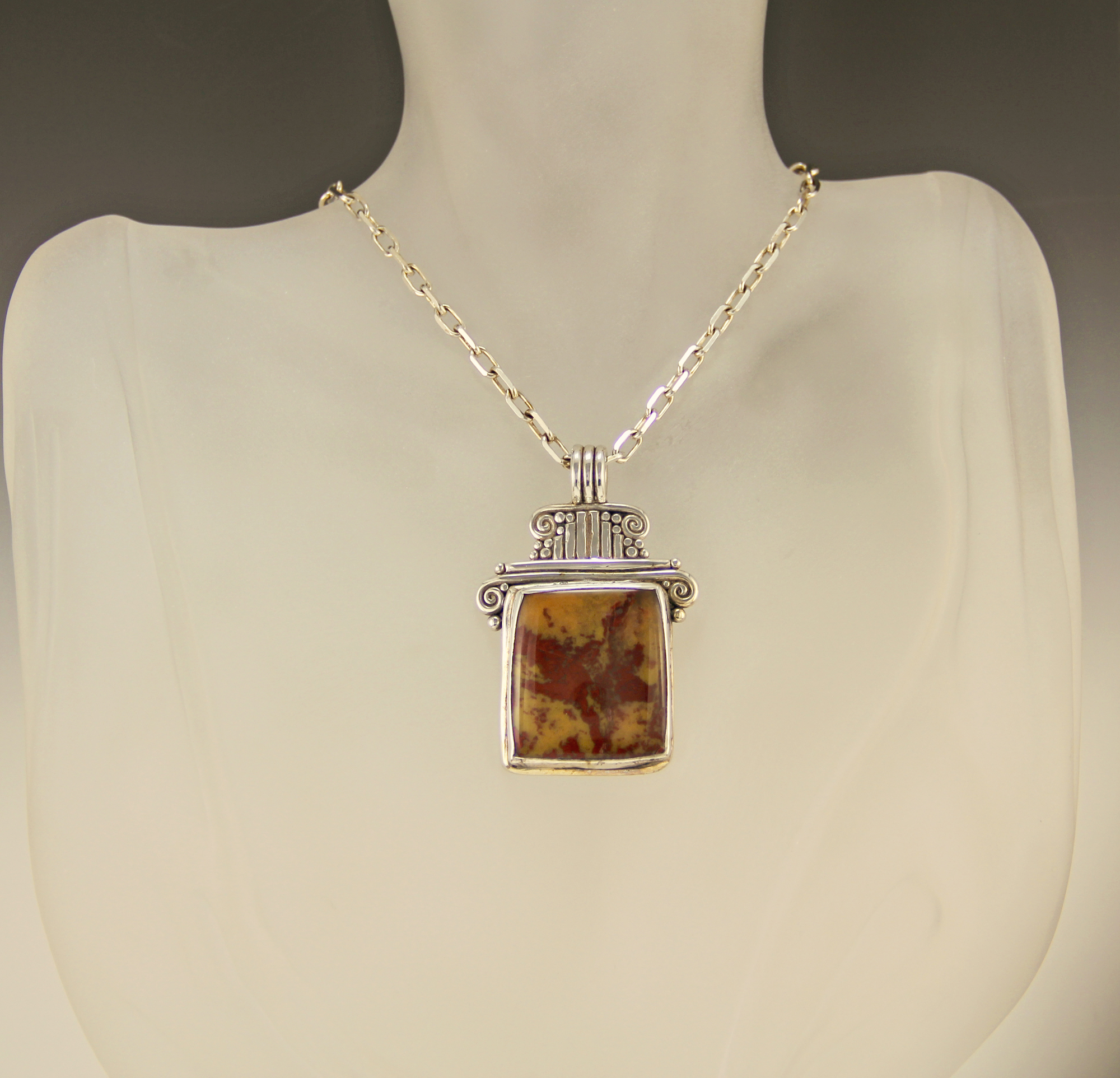 P491 Sterling Silver Paint Rock Agate Pendant Denim And