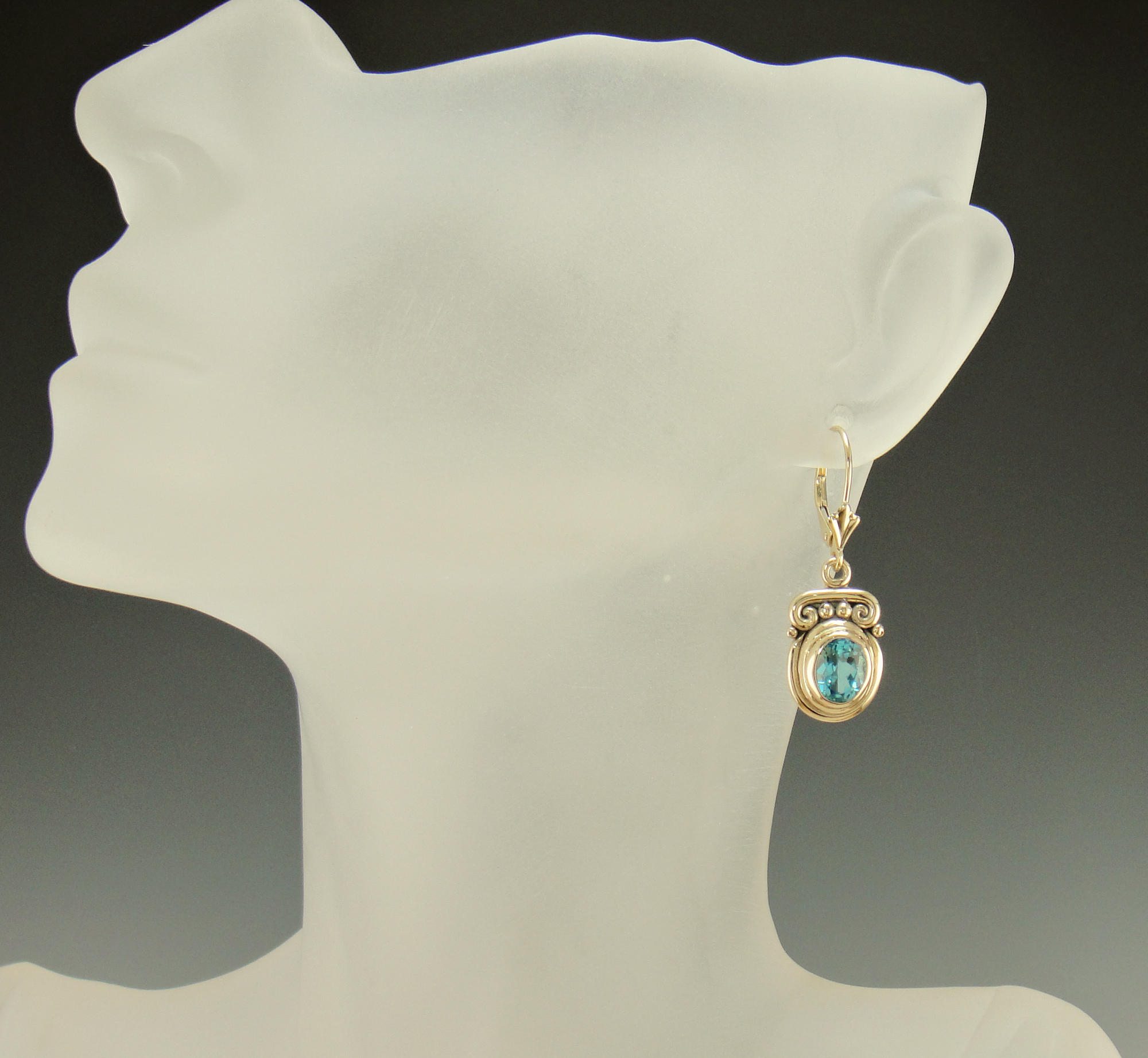 blue earrings oro topaz in rose tw colore diamonds with gold