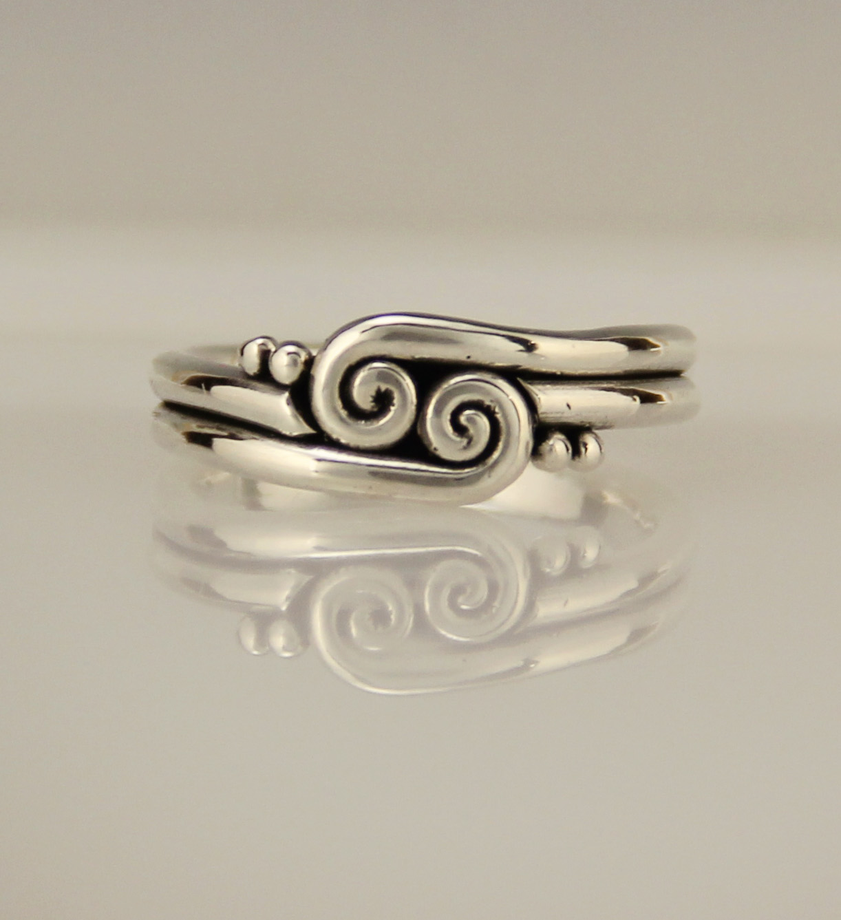 Sterling Silver Scroll Swirl Wedding Band Thumb Ring Denim And